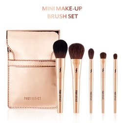 Wholesale Mini 5pcs Makeup Brush Set - PONY EFFECT Gold MINI Makeup Brush set -5pcs brushes with Pouch - Original Quality Beauty makeup Blender