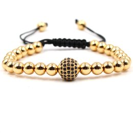 Wholesale braiding strands - 2018 Fashion Jewelry Beaded Bracelet Zircon Pave Bead Rope Braided Men Women Gold Beaded Classic Bangles Luxury Adjustable Bracelets