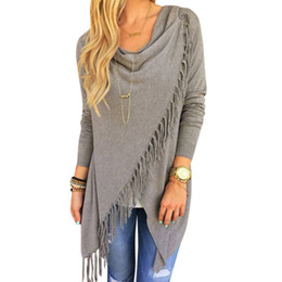 Wholesale Womens Poncho Capes - Wholesale-Autumn Winter Cape Poncho Solid Womens Capes And Ponchoes Women Oversized Sweater With Tassel Turtleneck knitted Plus Size