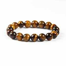 Wholesale Tiger Eye Bracelet For Women - Wholesale Free Shipping 12pcs lot 10mm Natural Tiger Eye Round Stone Beads Bracelet Jewelry Hot Sale For Women and Men Gift