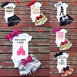 Wholesale Summer Baby Boys Outfit - 2017 New Children outfits boys girls summer Sequins Bow headband+letter printing romper+shorts 3pcs set baby Sequins bowknot suits C2273
