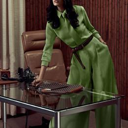 Wholesale Top Design Blouse - Top Fashion Women's Elegant Design Plus Size 3XL 2 Pieces Pants Set Blouse Loose Pants Solid Color Green Twin Set with Tie Suits