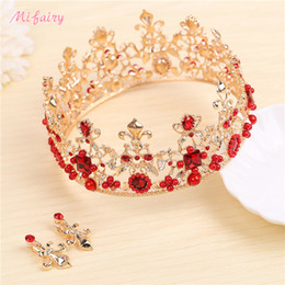 Wholesale Ruby Bridal - Vintage Baroque Bridal Circle Tiaras Sets Gold Red Crystals Prom Headwear Stunning Wedding Tiaras And Crowns Sets H84