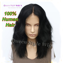 Wholesale Black Medium Length Wig - Medium Length Loose Curly Hair Lace Front Wig Vivid Synthetic  Brazilian Virgin Human Hair Sexy Lace Front Wigs for Black  White Women