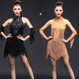 Wholesale Latin Dance Show - Blue Black Women Tassels Latin dance clothes Adult Ballroom dancewear costume dress Femal Salsa Party show performance dress