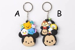 Wholesale Keychains Children Wholesale - New Arrival!50pcs Tsum Tsum Mickey Minnie Winnie Mr.Q Stitch Goofy 7cm Cute Keychain Dolls Pendants for Children Gift