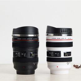 Wholesale camera coffee - Camera Lens Cup Coffee Tea Bottles 400ML Travel Mug Stainless Steel Thermos SLR Lens Coffee Mugs 10pcs