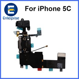 Wholesale Iphone 5c Dock - Best Quality For iPhone 5C Charging Port Audio Flex Cable For iphone5C Charger Dock Replacement Part Black