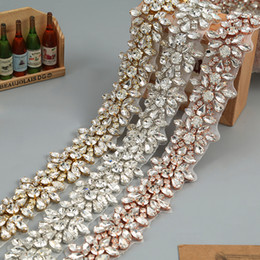 Wholesale crystal rhinestone trims - Crystal Rhinestone Trim by the Yard Wholesale Bridal Trim Thin Crystal Trim Rose Gold Rhinestone Applique Wedding Dresses Belt
