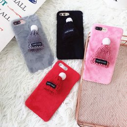Wholesale fuzzy phone cases - Luxury Warm Fuzzy Case For iphone 7 Case Cute Cartoon Plush Hat Phone Cases For iphone 7 Plus Cover Fashion DIY Capa Newest