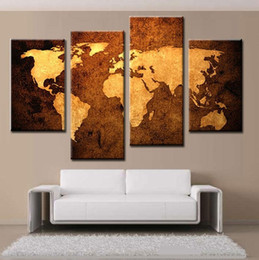 Wholesale Map Canvas Art - Framed World Map 4 Panels, Pure Handpainted Huge Modern fashion home Wall Deco Art Oil Painting On Canvas Mulit size Available Free Shipping