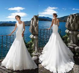 Wholesale Winter Mermaid Wedding Dresses - Milla Nova DORIANA 2017 Beach Mermaid Wedding Dresses White Lace Appliques Sheer Neck Illusion Bridal Gown Long Court Train Robe De Marriage