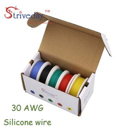Wholesale Flexible Copper Wire - 50m 30AWG Flexible Silicone Wire 5 color Mix box 1 box 2 Copper Electrical Line RC Cable 30awg 11 0.08TS Outer Diameter 1.2mm