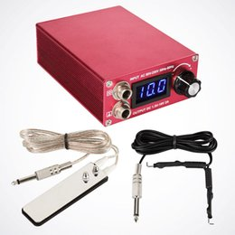 Wholesale Red Foot Pedal - Wholesale-High Quality Red LCD Tattoo Power Supply w  Clip Cord & Stainless Steel Foot Pedal For Tattoo Machine Supply -- TP-032