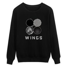 Wholesale Cute White Long Sleeve Sweater - New sweatshirt women clothes BTS bulletproof youth group sweatshirts woman cute WINGS letter pattern long sleeve sweater tracksuits