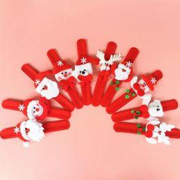 Wholesale Red Slap Bracelets - Xmas Party Favors Santa Claus Slap Bracelet Christmas Reindeer Wrist Band Bangle festive event kids adults Gift red