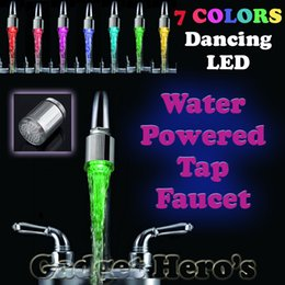 Wholesale New Bathroom Led Tap Lights - Wholesale-LED Water Faucet Light 7 Colors Changing Shower Tap Head Kitchen Tap TE New