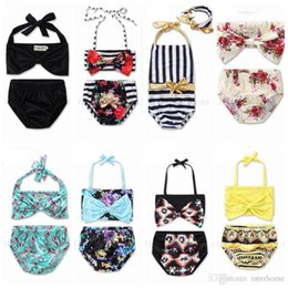 Wholesale Kids Floral Swimsuits - Baby Swimwear Kids Summer Bathing Suits INS Bikini Newborn Bowknot Floral Lace Up Tops Brief Striped Flowers Swimsuits Clothing Sets H568