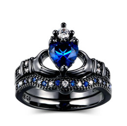 Wholesale Black Diamond Bridal Sets - Wholesale Professional Fashion Jewelry 10KT Black Gold Filled Pear Blue Sapphire Simulated Diamond Gemstones Wedding Women Bridal Heart Ring