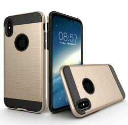 Estuche rígido balístico online-Brushed Hybrid para Galaxy S8 iphone 8 case Armor Rugged Ballistic Shockproof Hard PC + Soft TPU Beetle Slim Cover