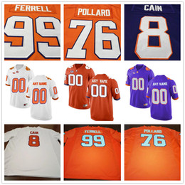 Wholesale Purple Football Jersey 28 - Clemson Tigers 99 Clelin Ferrell 76 Sean Pollard 34 Kendall Joseph 28 Tavien Feaster Purple White Orange College Mens Womens Kids Jerseys