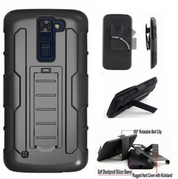 Wholesale Heavy Duty Iphone Belt Case - Rugged Belt Clip Holster Shell Armor Cover Hard Case For LG K7 K10 K4 K5 K8 V10 G5 Stylo X Power X Screen Heavy Duty Phone Cases Kickstand