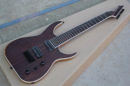 Wholesale Matte Electric Guitar - OEM Northeast China ash Body Rosewood Fretboard Satin Matte Black Blackmachine B7 Special Shape 7 Strings Electric Guitar 1027