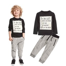 Wholesale toddler sport pants - Spring Baby Boys Clothing set Casual Sport Letters Prints Tracksuit Infant Toddler Boys Clothes Long sleeve T shirt Pants