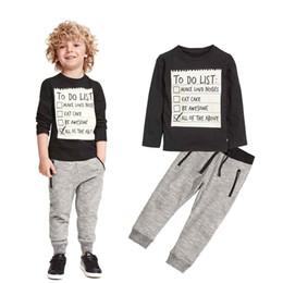 Wholesale Infants Tracksuits Boys - Spring Baby Boys Clothing set Casual Sport Letters Prints Tracksuit Infant Toddler Boys Clothes Long sleeve T shirt Pants
