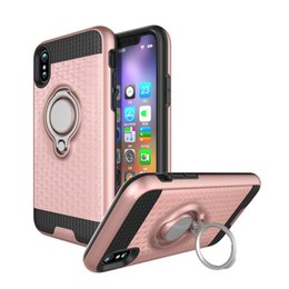 Wholesale Wholesale Plastic Bracket - Hybrid Armor Case 3D Shockproof Metal Ring Bracket Holder Back Cover For iPhone 8 8G 7 6 plus Samsung Galaxy S8 Note 8 Magnetic Car Mount