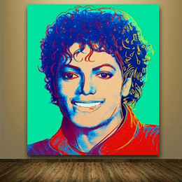 Wholesale michael jackson figures - Framed Andy Warhol New pop Art michael jackson,Hand Painted Abstract Modern Colorful Art Oil Painting On Quality Canvas.Multi sizes Aw001