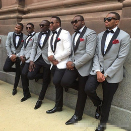 Wholesale Mens Grey Pinstripe Suit - 2017 One button slim fit groom tuxedo White light grey Jacket+Pants mens Tuxedos with Black lapel best men suits Custom Made Groomsmen suits
