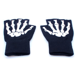 Wholesale Multifunctional Gloves - Halloween Magic Gloves Elastic Fingerless Skull Cycling Gloves Bicycle Half Finger Gloves For Party outdoors multifunctional