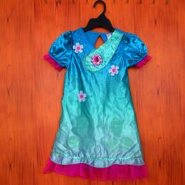 Wholesale patterned flower girl dresses - 2017 new trolls short short sleeves dress Net yarn Girls dress cartoon trolls Spelling a flower pattern kids choth