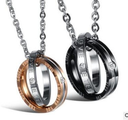 Wholesale Two Ring Pendant - Circle pendant With diamond titanium steel couple necklace couple ring two colors can choose shipping free