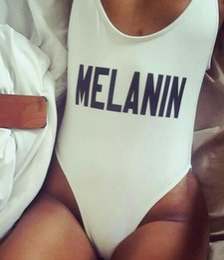 Wholesale Spandex Bodysuits - MELANIN Letter Printing Swimsuit Women Sexy Open Low Back High-cut Bodysuits One Pieces Swimwear 9 Colors Beachwear Bathing Suits