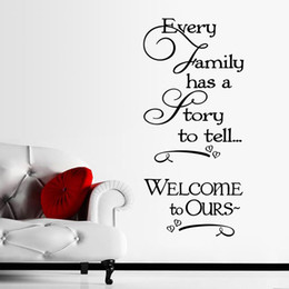 Wholesale Wall Stickers Welcome - Welcome to our home Family quote wall decals decorative removable heart vinyl wall stickers Home Decor Bed Room Free shipping