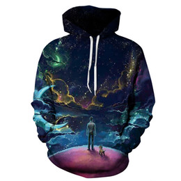 Wholesale Active Walking - Attractive Long Sleeve Walk The Dog On Earth Pattern 3D Painted Hoodie