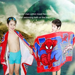 Wholesale Mechanical Spider - Foreign trade wholesale bath towel 100% Cotton red spider. Spiderman is soft Cartoon printed cotton Blanket Towel female Towel  Cotton Wash