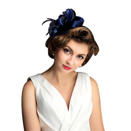 Wholesale Blue Hair Fascinators - Fashion Women Bride Hat Manual Feather Small Hat Wedding Photo All-match Jewelry Blue Hair Girl