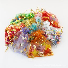 Wholesale New Year Party Package - 100pcs lot organza heart design drawstring pouches Gift Bags&Pouches 9x12cm jewellery box gift box packaging