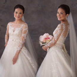 Wholesale Elegant Wedding Dresses Sashes - New Modern Tulle Princess A Line Wedding Dresses With See Through Long Sleeves Sheer Elegant Sequins Sash Appliques Handmade Bridal Gowns