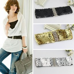 Wholesale Belt Stretch Waistband - New Fashion Women Girl's Elastic Sequin Waistband Buckles Belts Punk Highly Stretched Design 3 Colors in Choice IX229 Free Shipping