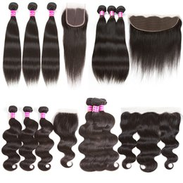 Wholesale Hot Human Body - hot Brazilian Virgin Human Hair Weave 3Bundles body wave straight and 4x4 lace closure 13x4 lace fontal remy human hair weft