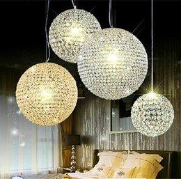 Wholesale Led Pendant Sphere Lights - Free Shipping LED crystal ball chandelier lamp living room lights restaurant bar creative sphere chandelier ballroom chandelier