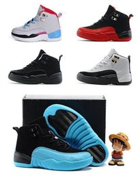 Wholesale Basketball Loop - High quality Retro 12s Kids athletic Shoes Gamma Blue Children Basketball Shoes Boys Girls 12 Flu game The Master Taxi Sports Shoes Toddlers