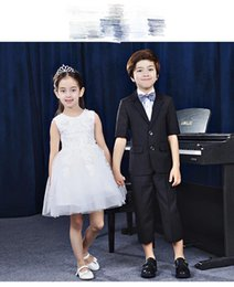 Wholesale Small Children Picture - Children dress small suit boys vest suit costume Han Flower Girl Dress piano winter host style is novel