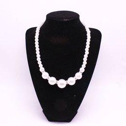 Wholesale Lovely Beaded Necklace - Lovely Kawaii Kids Necklace Pearl Beaded Necklace for Cute Girl Crystal Rhinestone Choker Jewelry Accessory Wholesale
