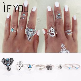 Wholesale Turkish Engagement Bands - 8PCS Set Fashion Vintage Bohemian Turkish Midi Ring Set Steampunk Snake Anillos Ring Knuckle Rings for Women Anel Joint Ring