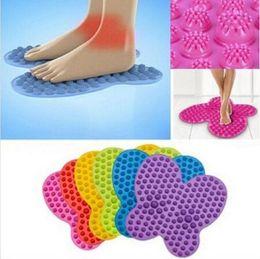 Wholesale Wholesalers Foot Mats - Novelty 6 Colors Available Futzuki Reflexology Mat Foot Treatment Butterfly Pattern Reflexology Foot Massage Mat CCA6620 100pcs
